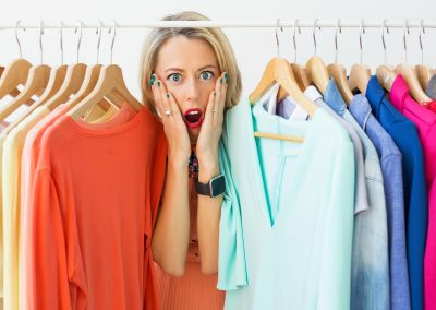 Stressed woman with nothing to wear